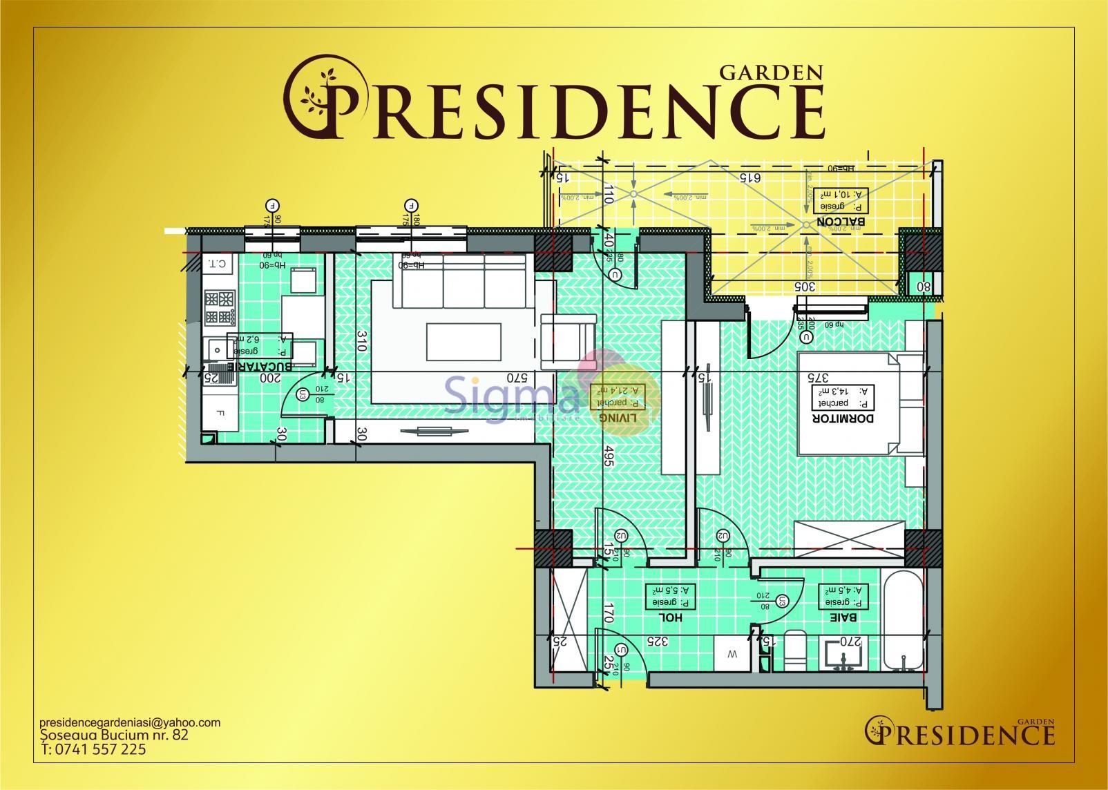 Apartament cu 2 camere de vanzare Bucium 62mp utili