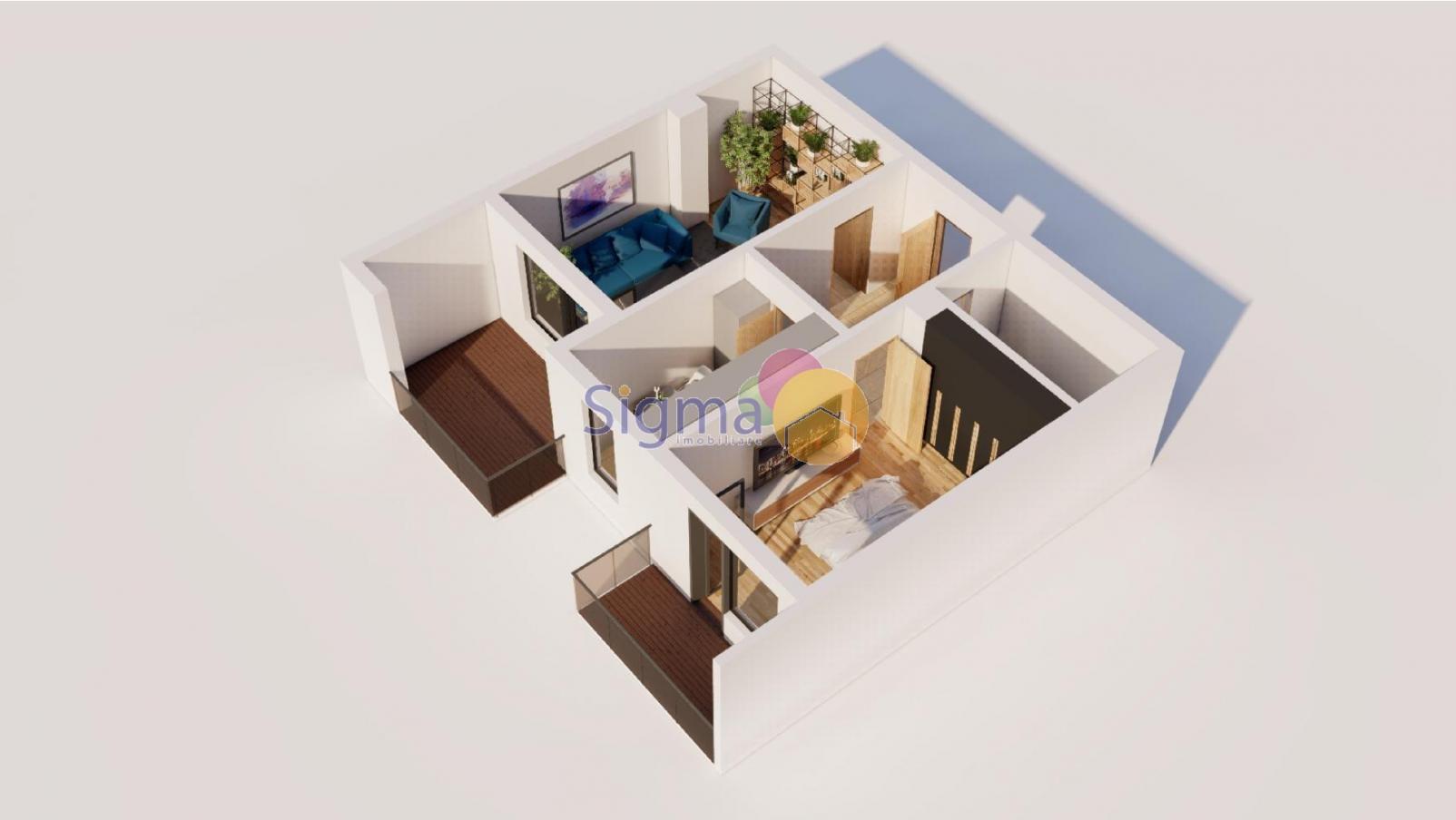 Apartament cu 2 camere de vanzare Bucium 69mp utili
